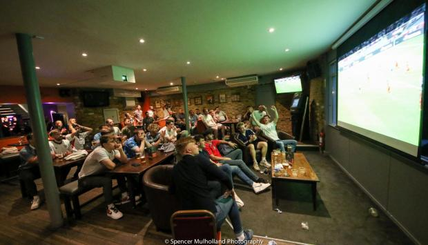 Salisbury Journal: Euro 2020 semi-final spectators at Cathedral Bar and Hotel, Salisbury, on July 7 - Picture by Spencer Mulholland