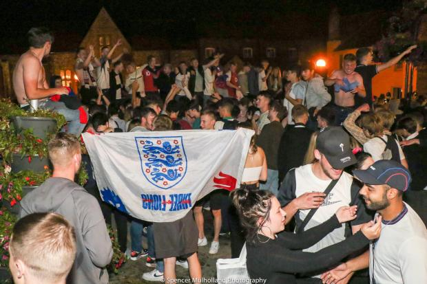 Salisbury Journal: Celebrations on Bridge Street after the Euro 2020 semi-final - Picture by Spencer Mulholland