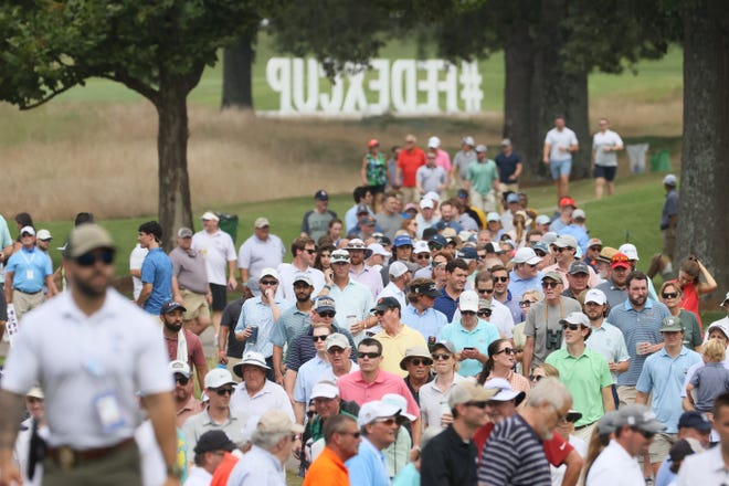 Fans follow the action from the sidelines during the second round of the World Golf Championships FedEx-St. Jude Invitational at TPC Southwind  in Memphis, Tenn. on Friday, August 6, 2021.